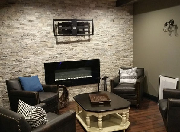 Rizzo Design. Finished. Fireplace area. Basement Remodeling. Johnson County Remodeling. Lenexa.