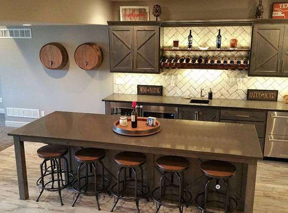 Taylor Design. Finished. Wet Bar. Basement Remodeling. Johnson County Remodeling. Lenexa.