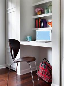 small space home office created from closet