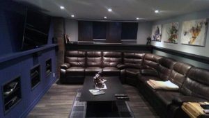 leather sectional man cave basement remodel
