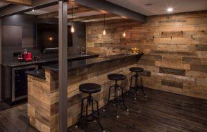 man cave basement remodel wet bar